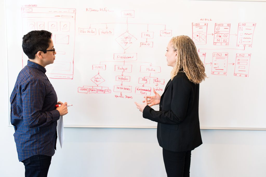 Woman in suit discusses plan on whiteboard with employee.